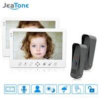 JeaTone Wired Video Door Phone Intercom Doorphone Doorbell System 10 Inch TFT Color Monitor Touch Key