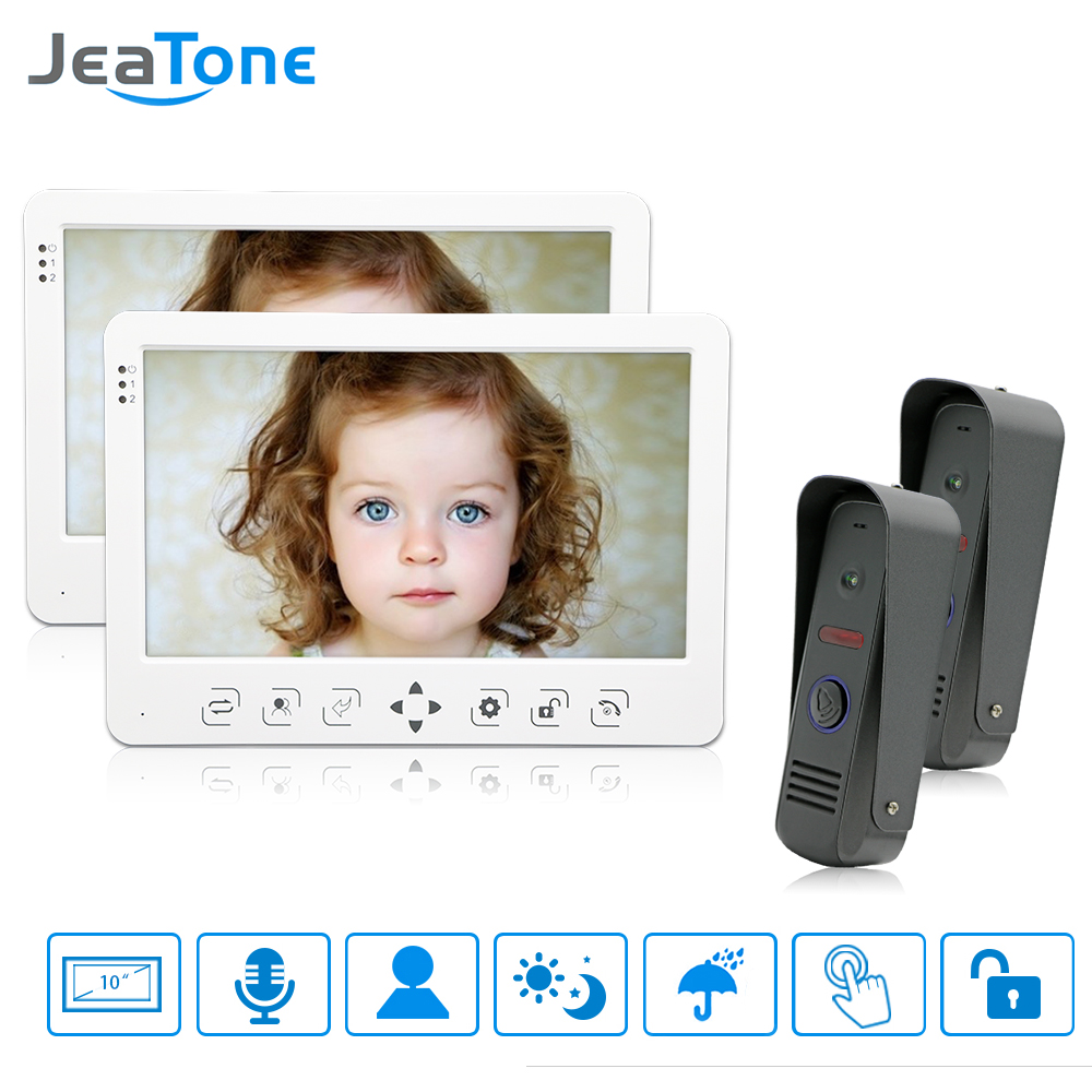 JeaTone Wired Video Door Phone Intercom Doorphone Doorbell System 10 Inch TFT Color Monitor Touch Key Photograph/video record