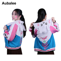 Aubalee D.va Sweatshirt Hoodie Rabbit Jackets Baseball Coats Dva Autumn Winter Cotton Sweatshirts For Women D.va OW Cosplay
