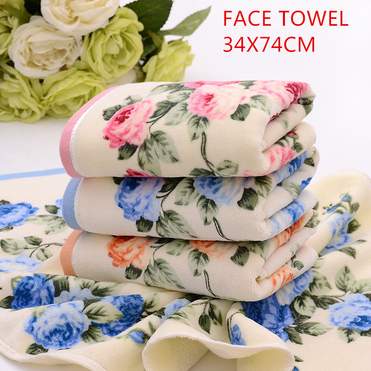 Hot sale Printed towel fashional flowers printed design velvet soft feel Hometextile Terry fabric 100% brand cotton Face towel