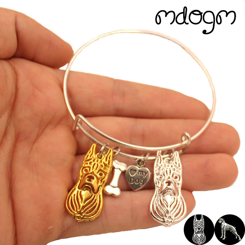2018 New Fashion Animal Bracelet Bangles Boxer Dog Love Alloy Metal Men Women Cute Fashion Male Female Girls Jewelry Gift S080