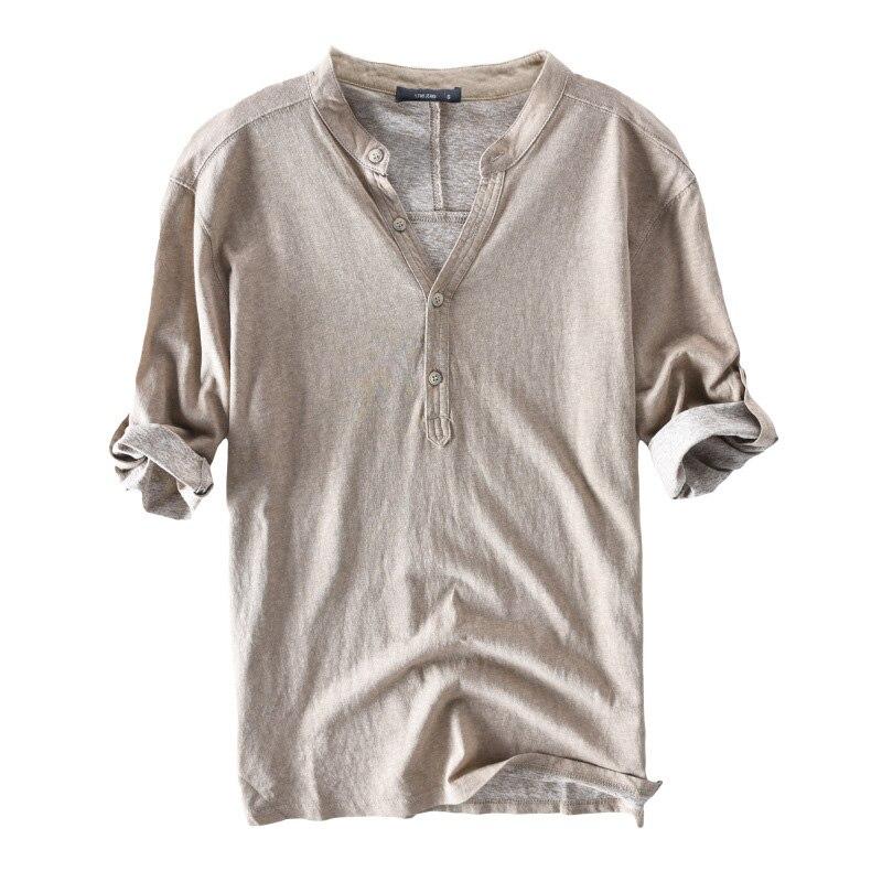 2019 neue Mode Männer T Shirts Halbe Hülse V-ausschnitt Solide Baumwolle Männlichen T Tops Casual Freizeit Fitness Taste Camisetas Hombre s-3XL