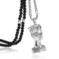 316L Thép Không Gỉ Cleopatra Ai Cập Pharaoh Pendant Necklace Với Black Đá Tự Nhiên Chain 26