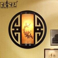 Clássica lã círculo lâmpada de parede da escada lâmpadas estilo chinês cama iluminação