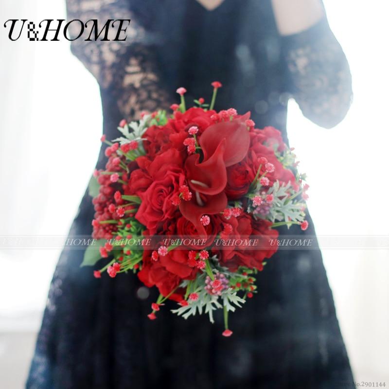 U&Home silk rose red berries letax calla artificial DIY <font><b>flower</b></font> bride bouquet for home wedding decoration bulk high quality