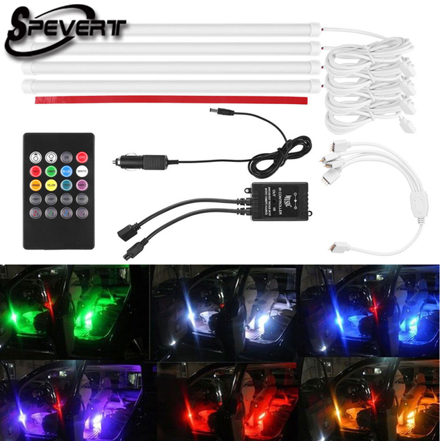 Spevert Atmosphere Lamp For Car 4x 18 Led 5050 Rgb Interior Lights Neon Kit Music