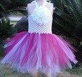 Прекрасный ребенок платье крючком топ пачки с цветком KP-6CTU032