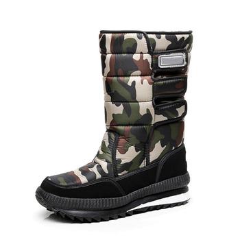 2018 męskie buty modne buty męskie zimowe buty zagęszczające śniegowe buty męskie buty męskie modne buty zimowe tanie i dobre opinie HAJINK Dół Połowy łydki Buty śniegu Okrągły nosek Pluszowe Gumy Cekinami tkaniny Hook loop Szycia A00181 Zima Stałe