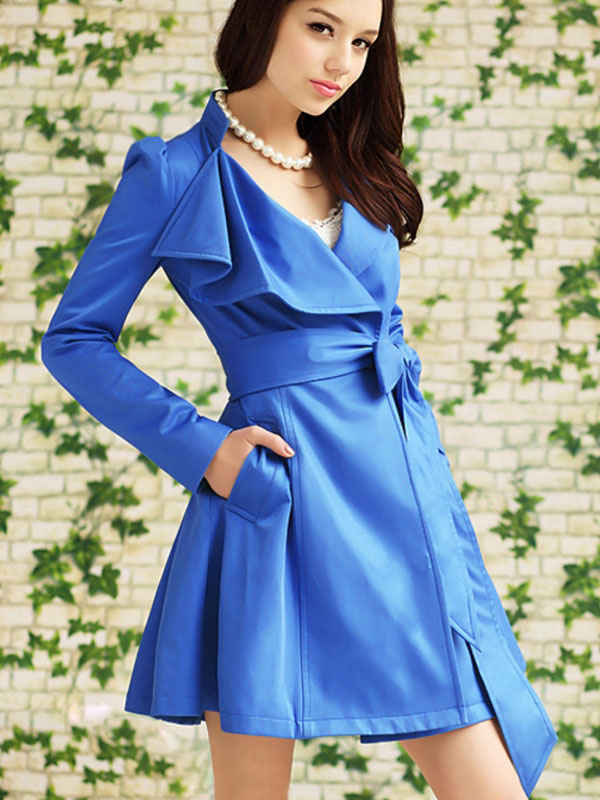 Col Manteau Longues Tranchée Bleu À Manches Vintage Wrap Stand Femmes Style 1awq1