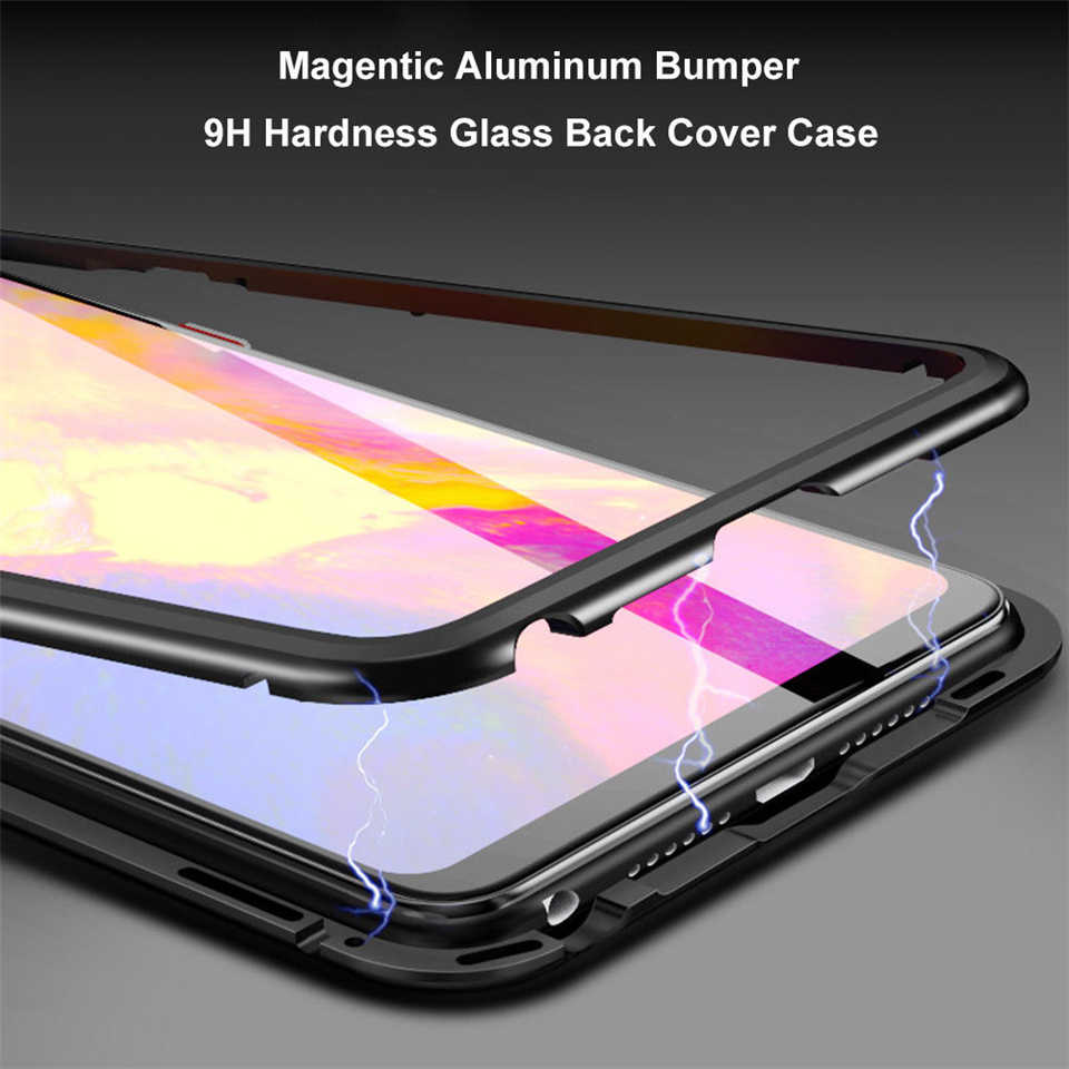 Magnetic Adsorption Phone Cases For Huawei P20 Cover Magnetic Tempered Glass 360 Metal Phone Case For Huawei P20 Pro Aluminum