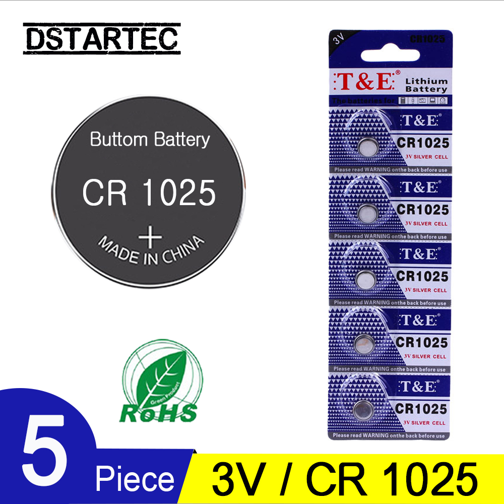 5PCS/Card CR1025 3V Lithium Button Battery BR1025 LM1025 DL1025 CR 1025 Coin Cell Batteries For Watch LED Toys; 30mAh Battery