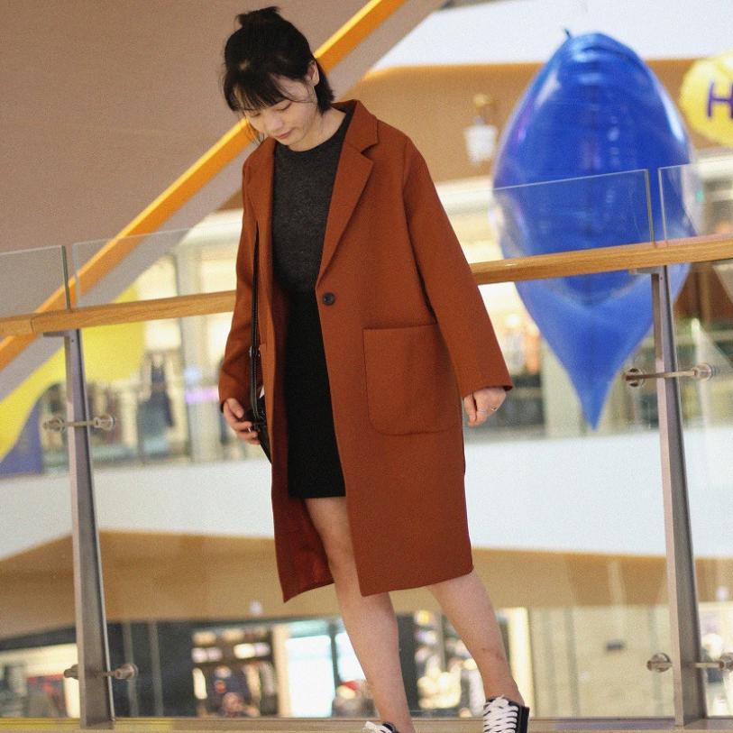 Style Section Tranchée Couleur Profil Nouvelles Automne D'hiver L1034 Coupe Bf 2018 Lâche Longue Manteau Femmes Black De Outwear Solide vent Et mnON8w0v