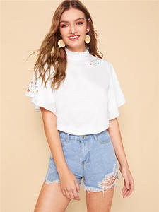 Dotfashion Blouse Short-Sleeve Womens Tops Floral-Embroidery White Elegant Summer And