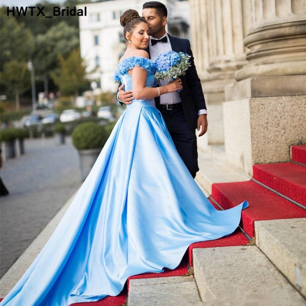 Charming Handmade Flowers Blue   Bridesmaid     Dresses   2018 Long Sweep Train Vestidos de Fiesta Cheap Custom Made Prom Party   Dress