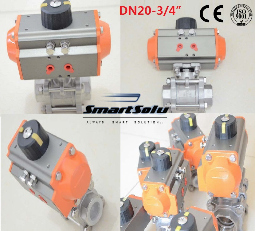 free shipping High quality DN20 3/4 3 pieces Stainless steel 304 double acting air actuated pneumatic ball valve actuator