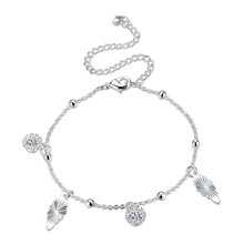 Hot Sale! High Quality New Fashion Jewelry, Cute Silver Plated Anklet Silver Plated Fireworks Charm CZ Anklet Bracelet for Women