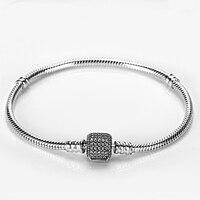 Genuine 925 Sterling Silver Bracelet with Sparkling Clear CZ Basic Chain fit Pandora Original Charm Bead DIY Bracelet Jewelry