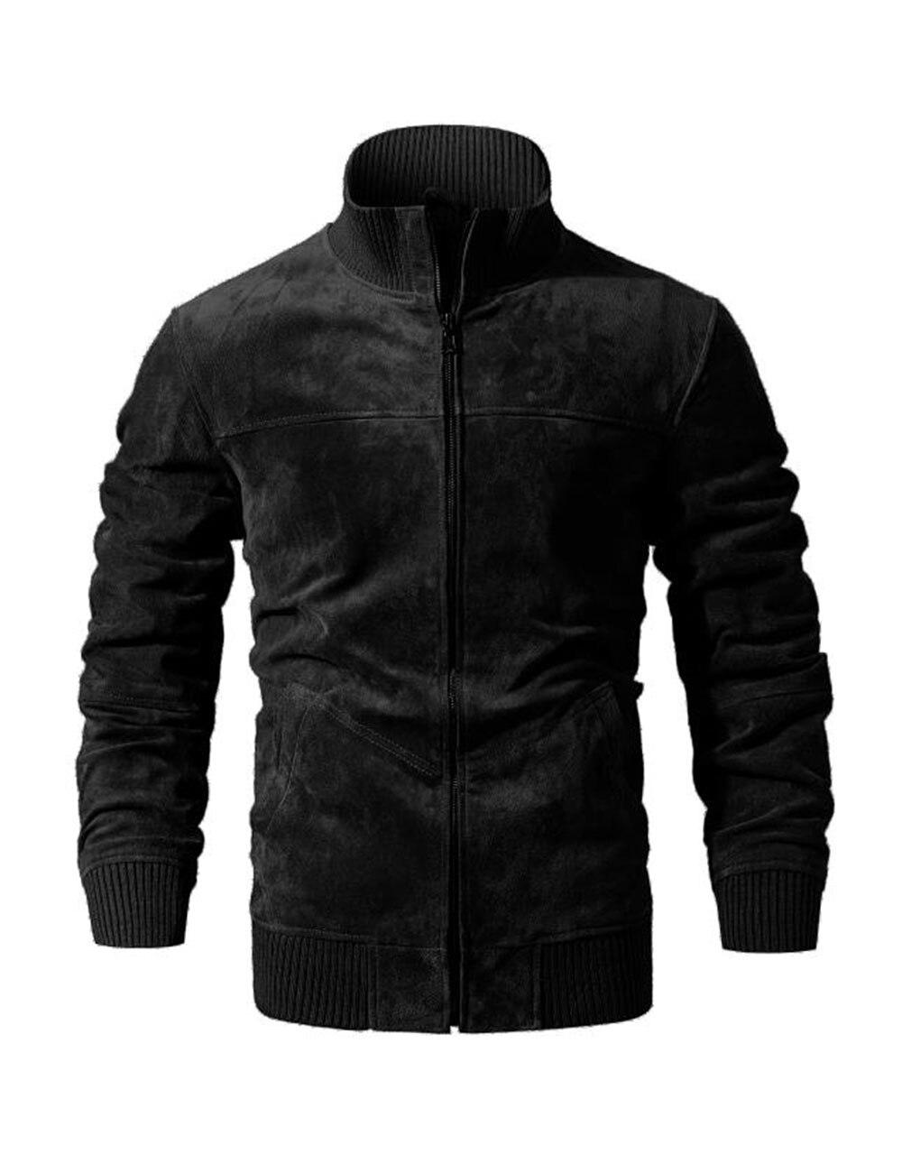 HTB1 OKMFL1TBuNjy0Fjq6yjyXXah FLAVOR Men's Real Leather Jacket Men Pigskin Slim Fit Genuine Leather Coat With Rib Cuff Standing Collar