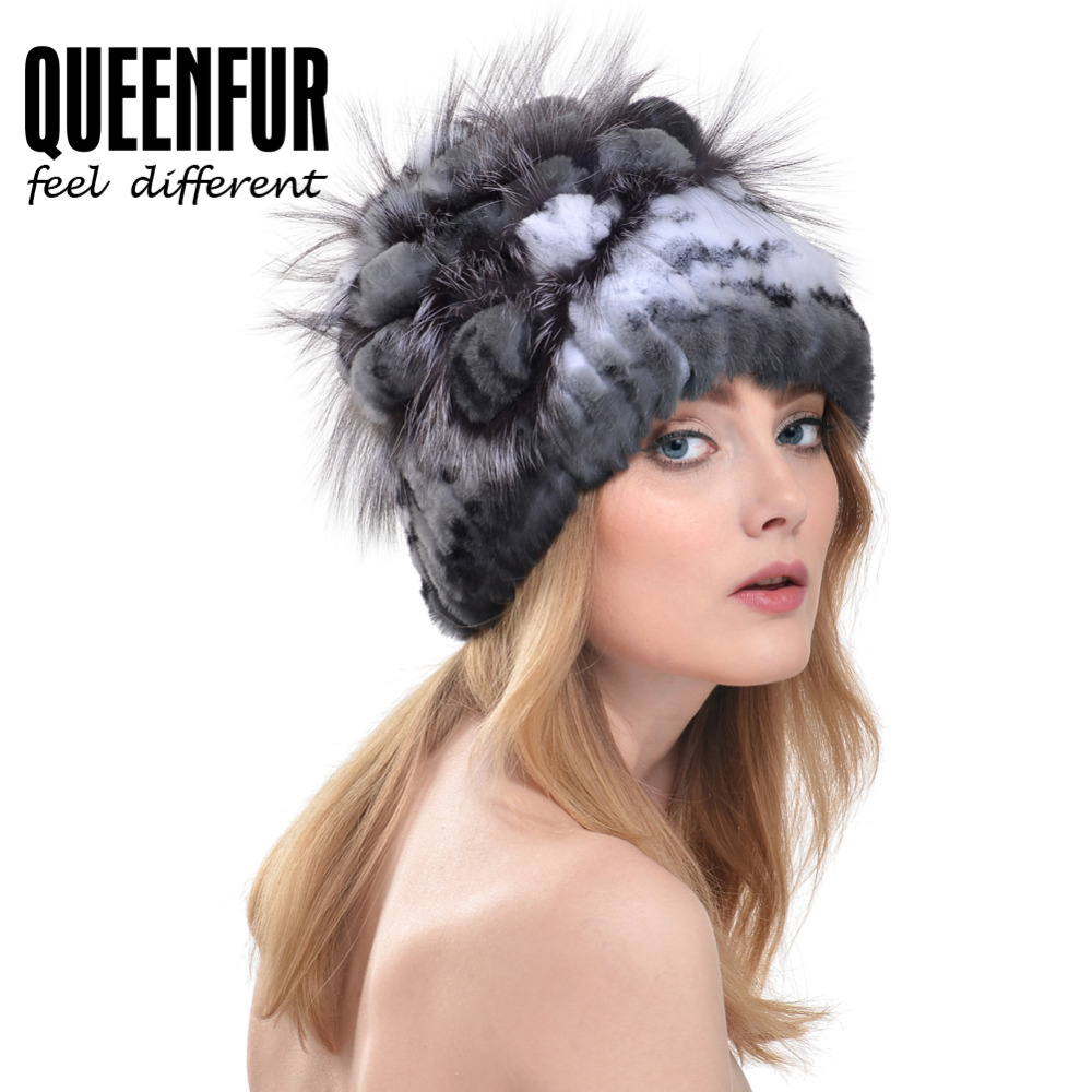 a6925bd9a9a QUEENFUR Knit Genuine Rex Rabbit Fur Hat With Silver Fox Fur Flower Beanie  Good Quality Super Elastic Real Fur Cap With Lining-in Skullies   Beanies  from ...