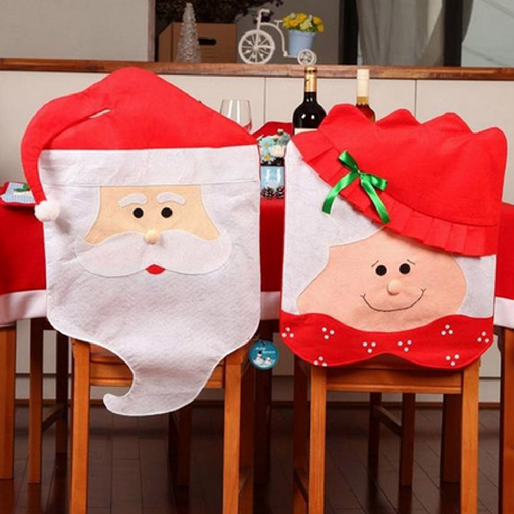 Christmas chair back covers - 1pc Lovely Mr Mrs Santa Claus Christmas Dining Room Chair Cover Seat Back Cover Coat