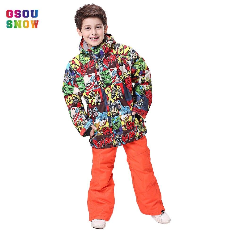 GSOU neige hiver Ski costume pour garçons filles imperméable coupe-vent enfants snowboard costumes Super chaud en plein air Ski et snowboard