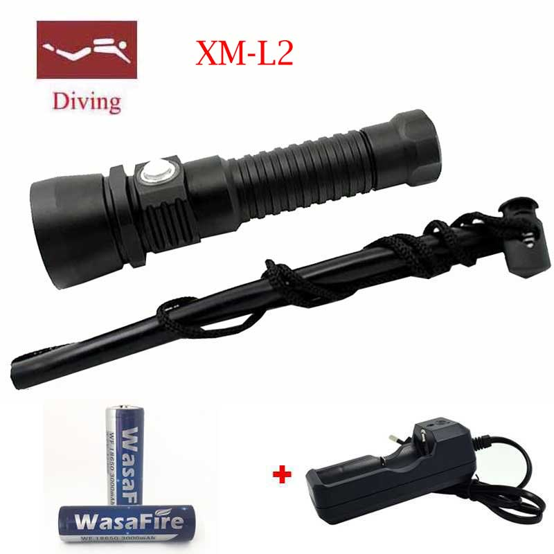 Wasafire New 5000LM XM-L2 LED Waterproof Underwater Scuba Diver Diving Flashlight Dive Torch LED Light Lamp for Diving Flashlamp 2015 brand new professional diving dive light torch diving waterproof 6x xm l2 9000lm led flashlight