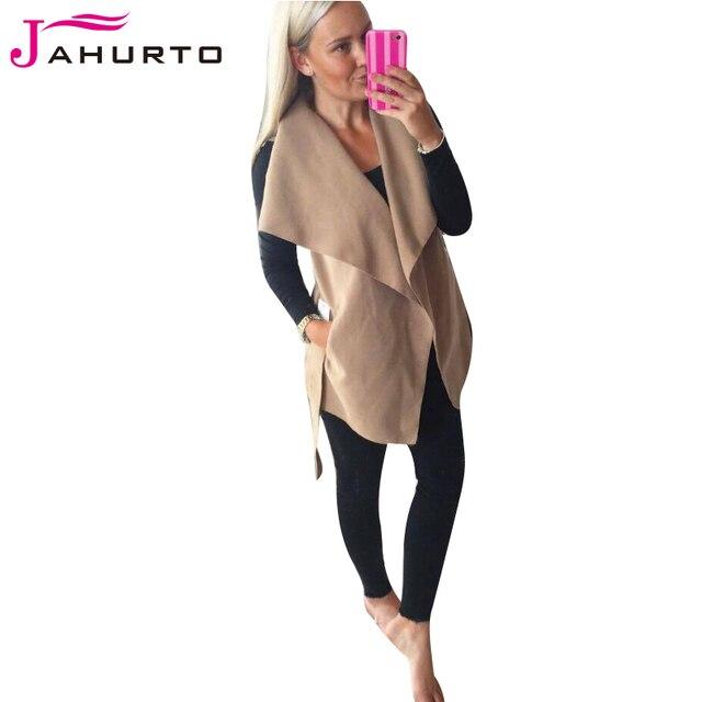 Jahurto European Style Sleeveless Vest Woolen Cardigan Coat Off Shoudler Overcoat Elegant Slim Outerwear Women Coat Fall Clothes