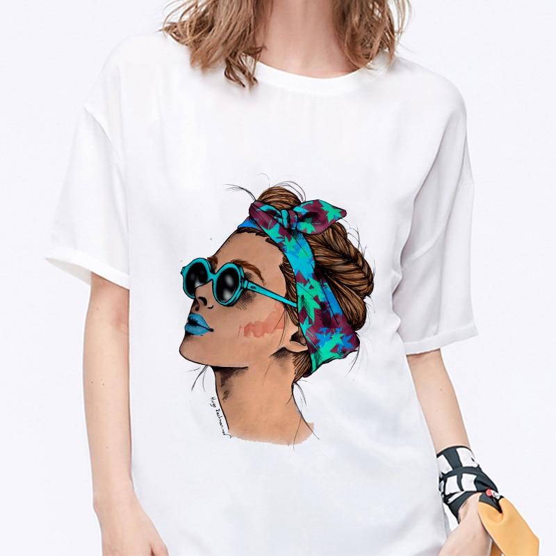 Summer 19 T shirt Women Harajuku Print Vintage Female Casual Fashion Tshirt O-neck Short Sleeve T-shirt White Tops Clothing 5
