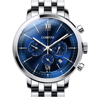 LOBINNI Men's Watch Business 50M Waterproof Steel Strap Multifunction Chronograph Dial Quartz Wrist Watch Men Sapphire L3605