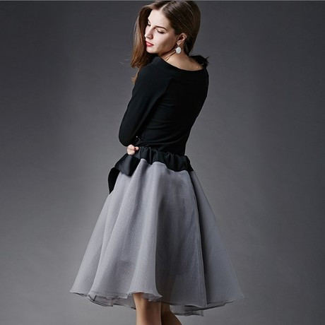 New-Spring-Summer-Women-s-Skirt-Suits-Elegant-Ladies-Black-Blouse-And-Pleated-SkirtWith-Bows-Clothing (1)