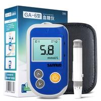 Sannuo hogar GA-6 Código Libre Medidor de Glucosa En Sangre Para Diabéticos Monitor con Detección de Tiras y Lancetas Agujas de Azúcar En La Sangre