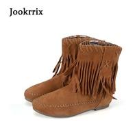 Jookrrix New Autumn Winter Fashion Boots Brown Flock Shoes Women Camel Lady Warm Shoe Apricot Slip