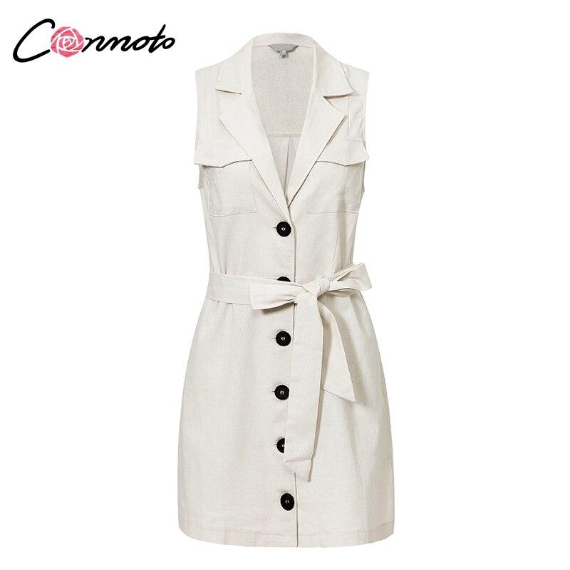 Conmoto Elegant Short Blazer Women Dress Sexy Bow Belt Tie Solid Mini Dress Linen Button Beach Wrap Party Dresses Shirt Vestidos 8