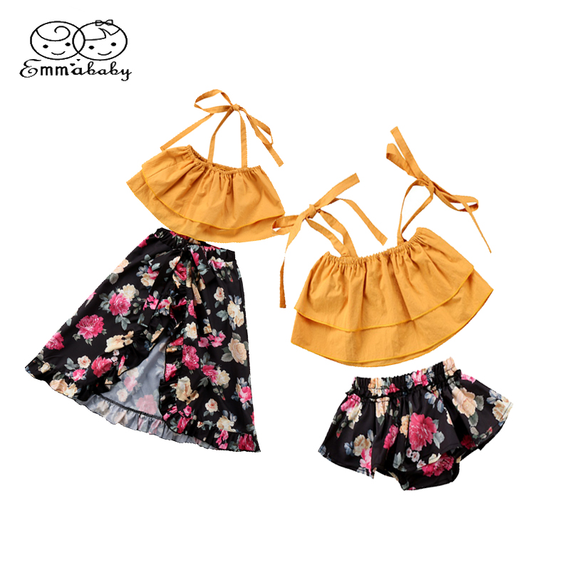 Emmababy Family Sister Matching Outfits Summer Outfits Off shoulder Strap Crop Tops Floral Tutu Baby Bloomers Shorts Skirt 2PCS