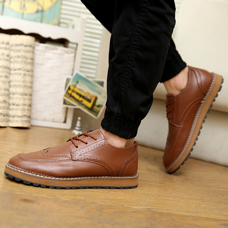 c26cd74522b19c 2017 Fashion Men Dress Shoes Spring Autumn Men s Brogue Shoes Office Flat  Shoes Leather Oxford Shoes for Men Size 39 44 YC999-in Men s Casual Shoes  from ...