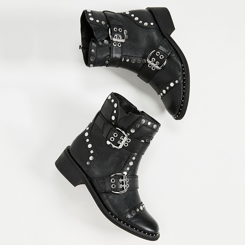 Boucle Taille Bottes Chaussures Rivets Grande 45 Motos Bas Luxe Cheville Peluche Chunky De Femme Femmes Ty01 Talons Bota Noir 44 43 Strap O8n0wXkPN