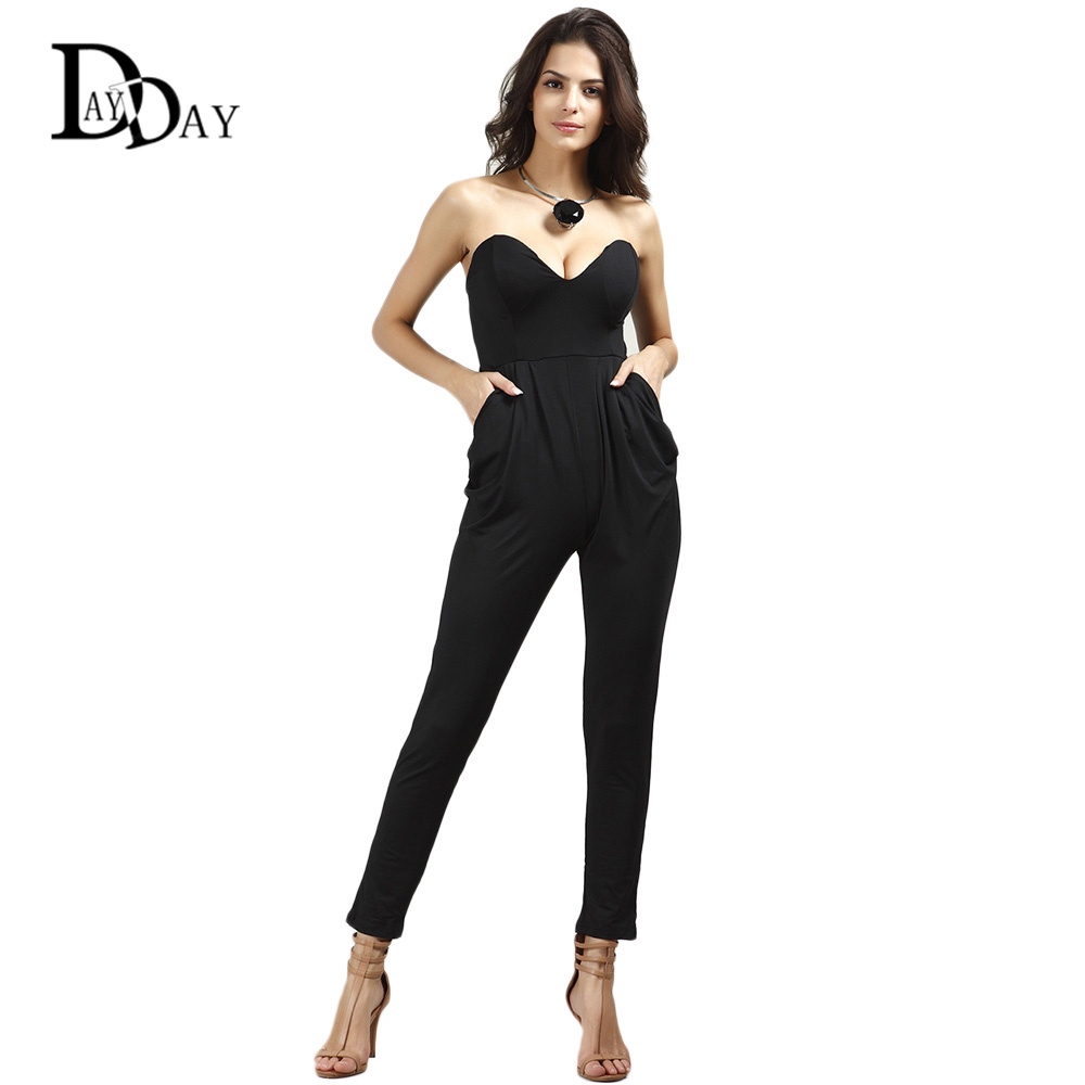 2016 Summer Sexy Black Jumpsuits Off Shoulder Long Pants with ...
