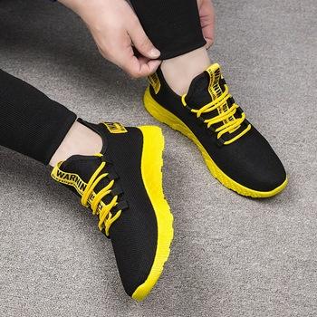 Modne buty sportowe męskie zasznurować mieszane kolor trampki oddychające Confort Stretch Febric Mesh płytkie mieszkania męskie buty do tenisa tanie i dobre opinie Litthing Elastycznej tkaniny RUBBER Mieszane kolory NONE Wiosna jesień M140358 Lace-up Mieszkanie (≤1cm) Pasuje prawda na wymiar weź swój normalny rozmiar