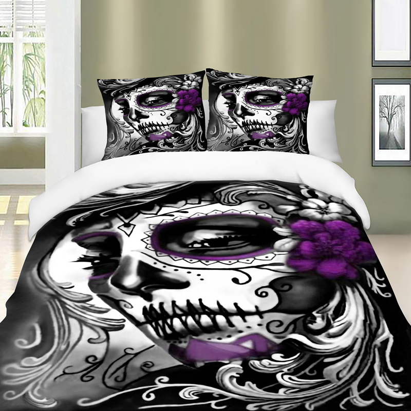 Gothic Bedding Set Twin Full Queen King Super All Size Duvet Cover Quilt Pillow Cases Skull 3pcs In Sets From Home Garden On