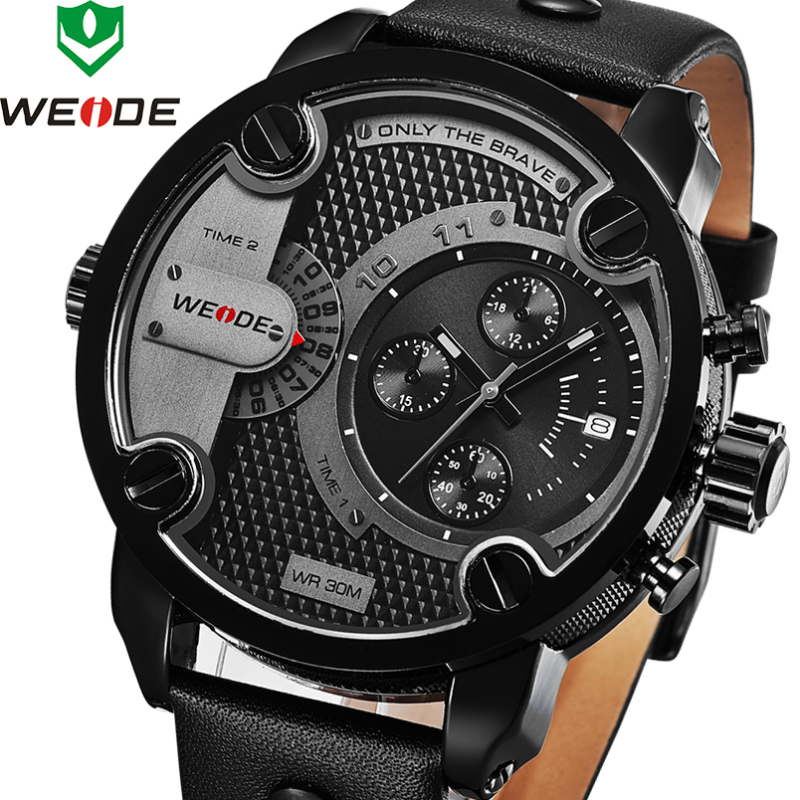 weide sport watches men luxury black leather strap quartz dual time zone analog date men military male clock oversize wristwatch 2018 New Luxury Brand WEIDE Men Quartz Watches Dual Time Oversize Clock Men Sports Army Military Leather Strap Wrist Watches