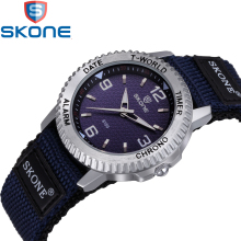 SKONE Fashion Women's Watches Nylon Watchband Simple Lovers' Quartz Watch for Men Wristwatches HE6159
