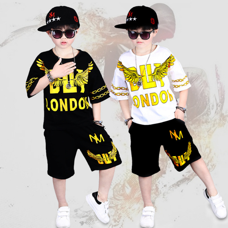 2 Pieces Suit Kids Teenage Boys Clothing Sets Hip-hop Dancing Sports Tracksuits Cotton T-shirt + Shorts Boys 2019 Summer Outfits