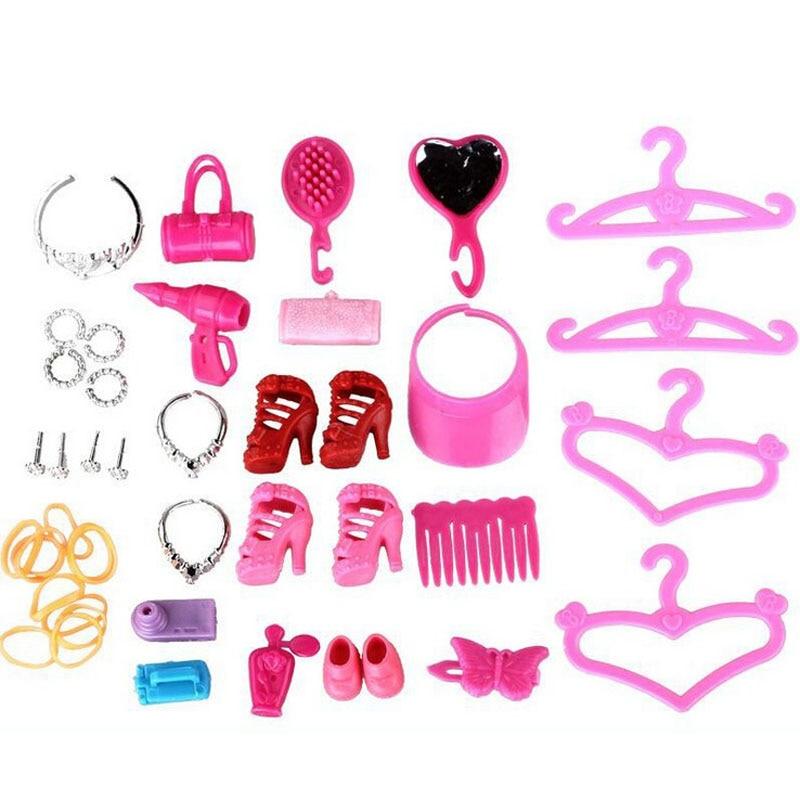 40pcs / set peigne miroir enfants talons jouets interactifs accessoires pour poupée Barbiedoll