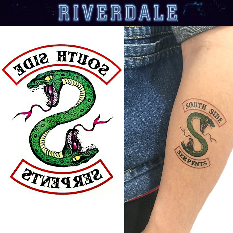5pcs/set Art Snake Tattoo Sticker Riverdale Cosplay Props South Side Serpents DIY Sticker Women Men Halloween Christmas Gifts(China)