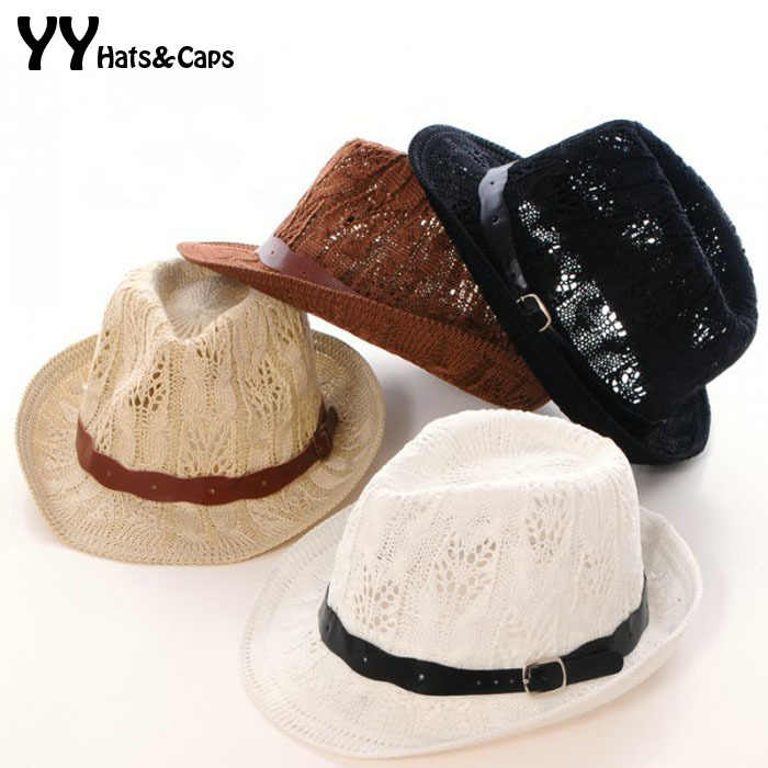 New Arrive Panama Hats Belt Yarn Hollow-out Summer Hat Woman 2015 Fashion Jazz  Cap be52d05f51a0