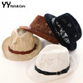 New Arrive Panama Hats Belt Yarn Hollow-out Summer Hat Woman 2015 Fashion Jazz Cap Girl Retro Beach Hat Chapeus Femininos YY0105