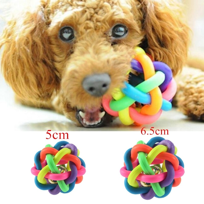 Dog Puppy Cat Pet Bell Sound Ball Rainbow Colorful Rubber plastic Fun Playing Toy funny 5.5cm or 6.5cm