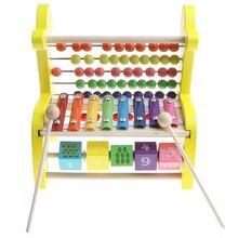 Музыкальный ксилофон& блоки& бусины Абак игра развивающая деревянная игрушка олененок