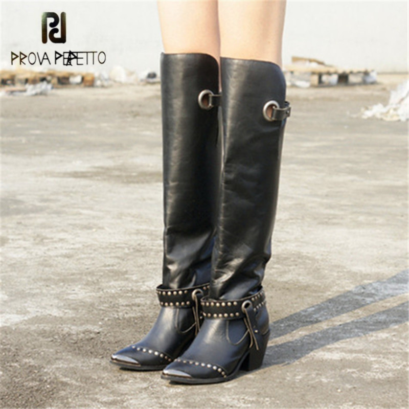 Prova Perfetto Metal Pointed Toe Women Thigh High Boots Black Genuine Leather Over the Knee Boots Autumn Winter High Heel Boot