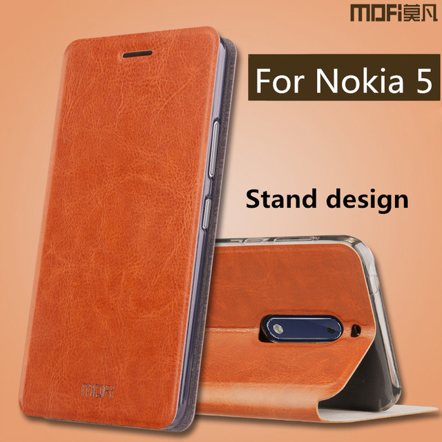 sale retailer c2cfc 7295d US $9.99 |case for Nokia 5 case flip cover leather silicone back full  protect hard funds MOFi original case for Nokia5 Nokia 5 cases cover-in  Flip ...